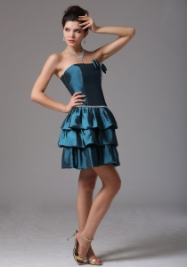 Bow Ruffled Layers Blue Cocktail Homecoming Dresses Beaded
