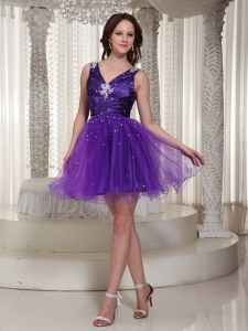 V-neck Purple Organza Prom Homecoming Dress Beaded