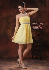 Beaded Yellow Damas Dresses for Quinceanera Ruching 2013