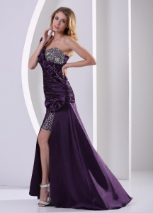 Beaded Celebrity Pageant Dresses Dark Purple One Shoulder Ruch