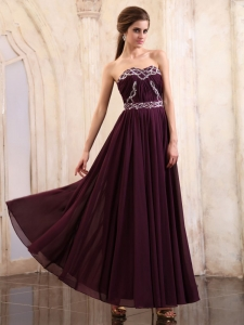 Pleated Dark Purple Prom Homecoming Dress Beaded Ruch