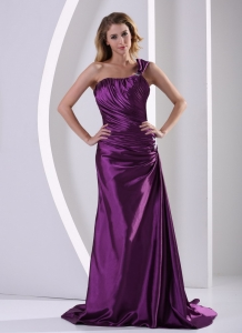 Ruched Eggplant Purple One Shoulder Evening Pageant Dresses