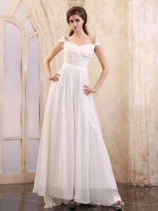 Square Cap Sleeves Wedding Bridal Dress Ruched Brush Train