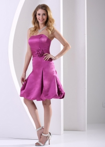 Hand Made Flowers Fuchsia Cocktail Homecoming Dresses