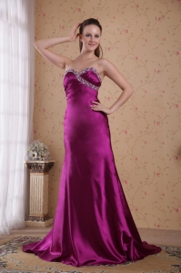 Fuchsia Beading Evening Pageant Dresses Ruched Sweep