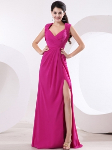 Hot Pink V-neck High Slit Prom Dress Ruch Brush Train