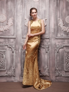 Gold Sequin Bateau Beaded Prom Evening Dress Brush Train