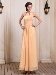 Discount Gold Halter Top Prom Homecoming Dresses Ruching