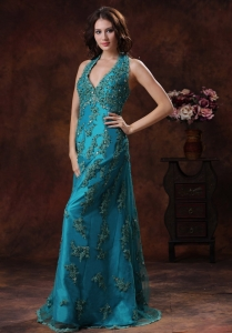Appliques Halter Teal Celebrity Pageant Dresses Train