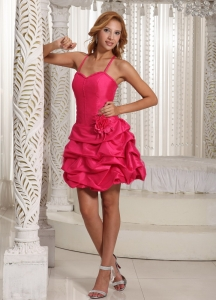 Hand Made Flower Hot Pink Straps Homecoming Cocktail Dress