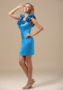 Hand Made Flowers Taffeta Baby Blue Cocktail Graduation Dress