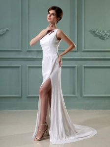 High Slit One Shoulder Prom Homecoming Dress Brush Train