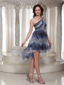 Printing One Shoulder Homecoming Prom Dress Multi-color