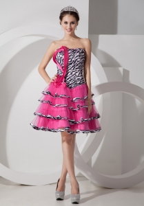 Zebra Ruffled Layers Hot Pink Cocktail Holiday Dresses