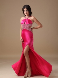 V-neck Celebrity Evening Dresses Hot Pink Beading Slit