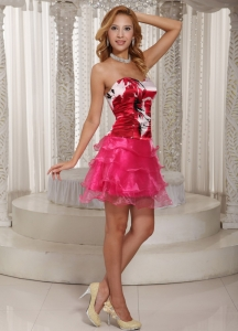 Printing Layers Hot Pink Homecoming Dress Ruched Summer