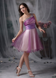 Beading One Shoulder Prom Cocktail Dresses Lavender Layers