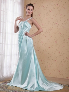 Light Blue Beading One Shoulder Evening Celebrity Dresses