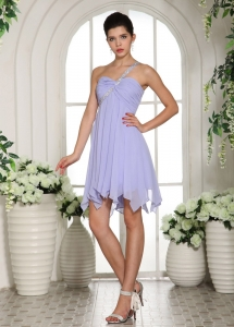 Beaded One Shoulder Lilac Homecoming Cocktail Dress Ruch