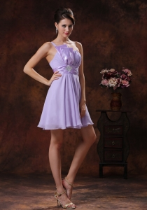 Lilac One Shoulder Ruched Sash Dama Dresses for Quince