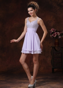 Lilac Straps Beaded Ruching Cocktail Graduation Dresses