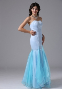 Beaded Mermaid Light Blue Prom Celebrity Dresses