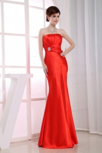 Mermaid Beading Red Prom Evening Dress Ruched Taffeta