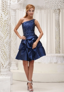 Beaded One Shoulder Navy Blue Homecoming Cocktail Dress