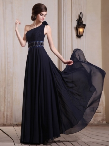 Navy Blue Prom Evening Dress One Shoulder Beaded Flower