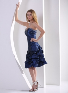 Pick-ups Navy Blue Beaded Cocktail Graduation Dresses