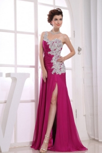 Appliques One Shoulder Ruch Fuchsia Prom Homecoming Dress