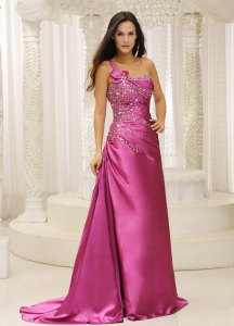 Evening Celebrity Dress One Shoulder Beaded Fuchsia Ruch