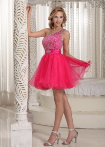 One Shoulder Beaded Prom Homecoming Dress Hot Pink