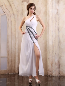 Keyhole One Shoulder Prom Graduation Dress Beaded High Slit
