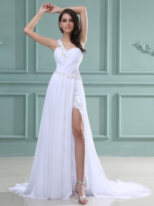 One Shoulder Wedding Dress Beaded Ruched Brush Train