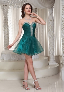 Organza Rhinestones Peacock Green Prom Homecoming Dress