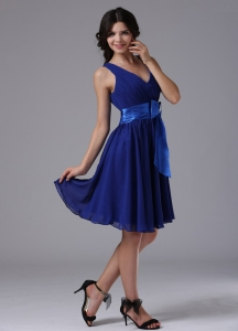 Peacock Blue Dama Dress for Quinceanera Bow Chiffon