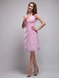 Pink V-neck Prom Cocktail Dresses Chiffon Ruched