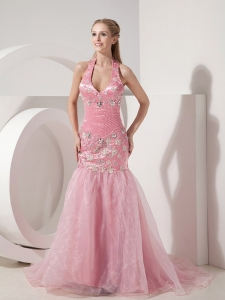 Mermaid Halter Appliques Pink Prom Celebrity Dress Beaded