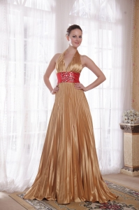 Rhinestones Halter Prom Celebrity Dresses Champagne Train