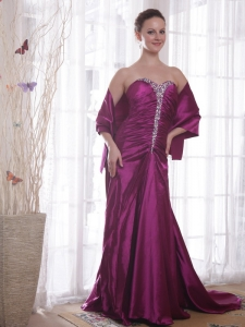 Purple Evening Pageant Dresses Beading Sweetheart Train
