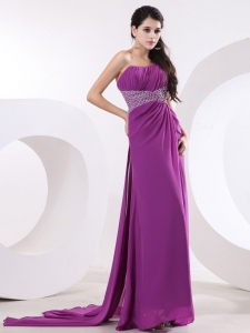 One Shoulder Watteau Train Beaded Prom Evening Dress Purple