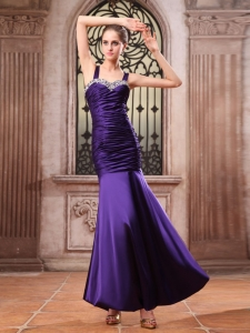 Purple Mermaid Straps Ruching Prom Evening Dress Beaded