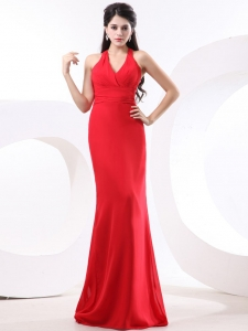 Red Halter Prom Evening Dresses Ruched Brush Train