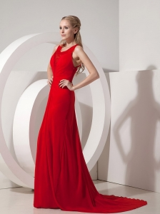 Red Ruch Scoop Brush Train Evening Pageant Dresses Chiffon