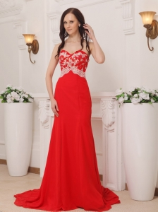 Red Appliques Celebrity Evening Dresses Chiffon Train