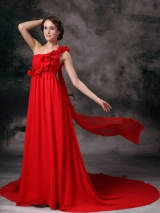 Red One Shoulder Flowers Evening Celebrity Dress Train