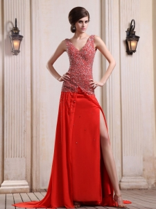 Beaded V-neck High Slit Prom Evening Dresses Red Train