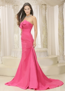Rose Pink Bowknot Evening Celebrity Dress Ruched Train