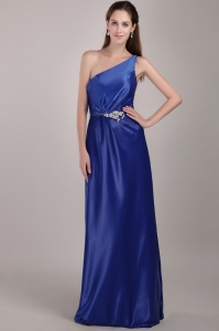 One Shoulder Beaded Royal Blue Prom Evening Dress Taffeta